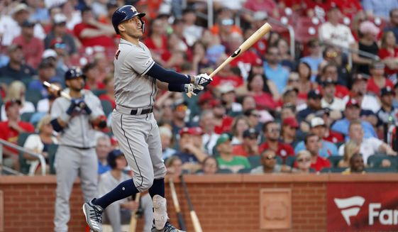 Houston Astros' Carlos Correa watches his grand slam during the third inning of a baseball game against the St. Louis Cardinals, Saturday, July 27, 2019, in St. Louis. (AP Photo/Jeff Roberson)