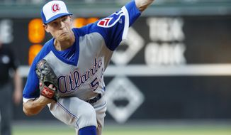 Atlanta Braves starting pitcher Max Fried throws during the first inning of a baseball game against the Philadelphia Phillies, Saturday, July 27, 2019, in Philadelphia. (AP Photo/Chris Szagola)