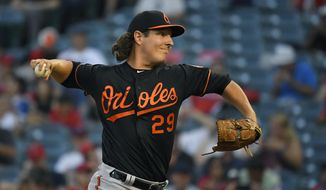 Baltimore Orioles starting pitcher Asher Wojciechowski throws to the plate during the first inning of a baseball game against the Los Angeles Angels, Friday, July 26, 2019, in Anaheim, Calif. (AP Photo/Mark J. Terrill)