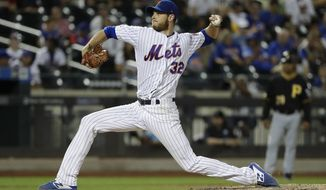 New York Mets' Steven Matz delivers a pitch during the ninth inning of a baseball game against the Pittsburgh Pirates, Saturday, July 27, 2019, in New York. (AP Photo/Frank Franklin II)
