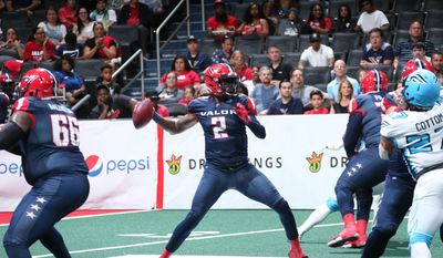 Washington Valor quarterback Arvell Nelson winds up to throw a pass in an Arena Football League playoff game against the Philadelphia Soul on Sunday, July 28, 2019 at Capital One Arena in Washington, D.C. (Photo by Ned Dishman, Monumental Sports and Entertainment / courtesy of Washington Valor)