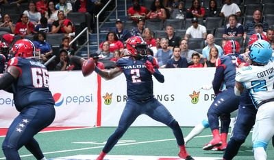 Washington Valor quarterback Arvell Nelson winds up to throw a pass in an Arena Football League playoff game against the Philadelphia Soul on Sunday, July 28, 2019 at Capital One Arena in Washington, D.C. (Photo by Ned Dishman, Monumental Sports and Entertainment / courtesy of Washington Valor) **FILE**