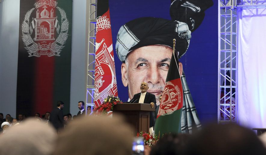 Afghan presidential candidate Ashraf Ghani speaks during the first day of campaigning in Kabul, Afghanistan, Sunday, July 28, 2019. Sunday marked the first day of campaigning for presidential elections scheduled for Sept. 28. President Ghani is seeking a second term on promises of ending the 18-year war but has been largely sidelined over the past year as the U.S. has negotiated directly with the Taliban. (AP Photo/Rahmat Gul)