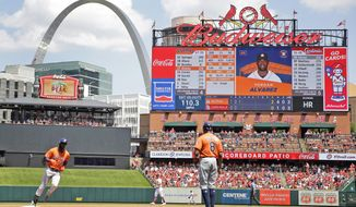 Houston Astros' Yordan Alvarez, left, rounds the bases after hitting a solo home run as third base coach Gary Pettis (8) watches during the third inning of a baseball game against the St. Louis Cardinals Sunday, July 28, 2019, in St. Louis. (AP Photo/Jeff Roberson)