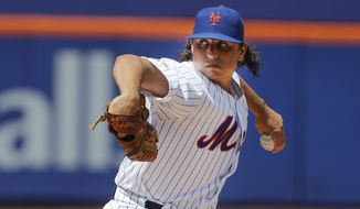 New York Mets' Jason Vargas delivers a pitch during the first inning of a baseball game against the Pittsburgh Pirates, Sunday, July 28, 2019, in New York. (AP Photo/Frank Franklin II) **FILE**
