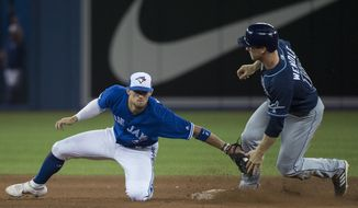 Tampa Bay Rays second baseman Joey Wendle (18) sides safe past Toronto Blue Jays second baseman Cavan Biggio (8) at second base after hitting a double during the sixth inning of a baseball game, Saturday, July 27, 2019 in Toronto. (Nathan Denette/Canadian Press via AP)