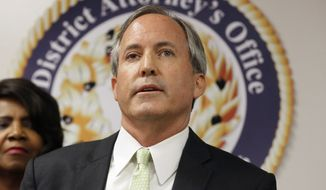 In this June 22, 2017, file photo, Texas Attorney General Ken Paxton speaks at a news conference in Dallas. (AP Photo/Tony Gutierrez, File)