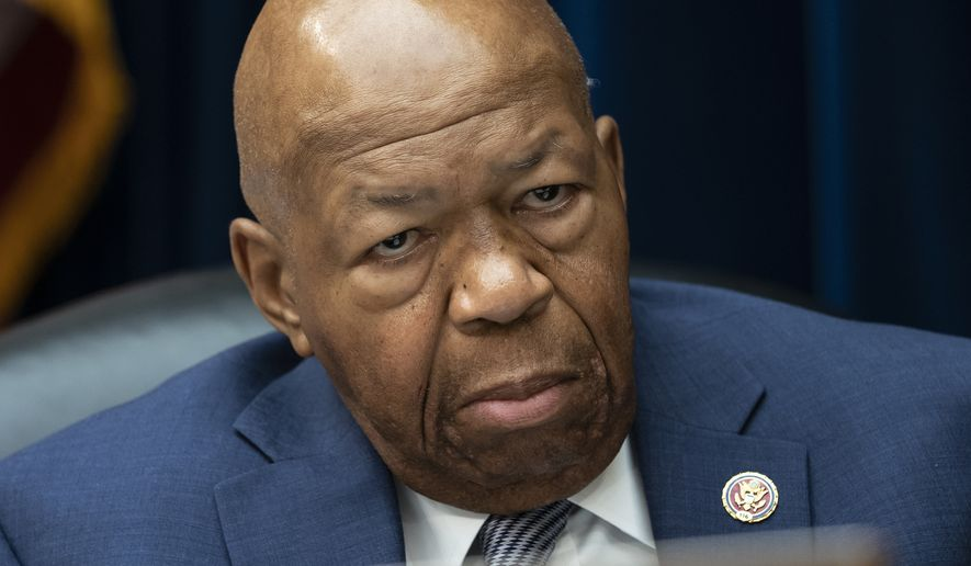 "In this file photo from Wednesday, June 12, 2019, House Oversight and Reform Committee Chairman Elijah Cummings, D-Md., considers whether to hold Attorney General William Barr and Commerce Secretary Wilbur Ross in contempt over subpoenaed documents related to the Trump administration's decision to add a citizenship question to the 2020 census, on Capitol Hill in Washington. In the latest rhetorical shot at lawmakers of color, Trump this weekend vilified Cummings' majority-black Baltimore district as a ""disgusting, rat and rodent infested mess"" where ""no human being would want to live."" (AP Photo/J. Scott Applewhite, file)"