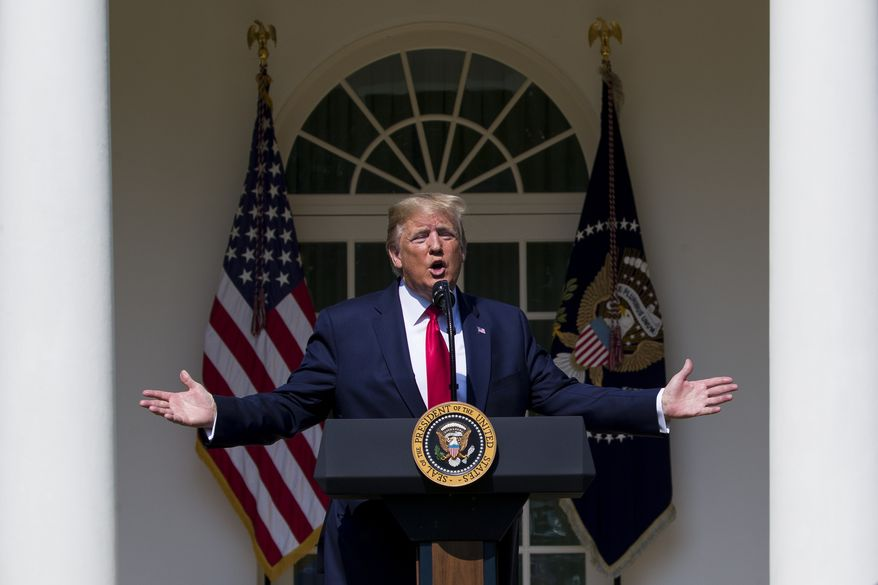 President Donald Trump speaks before signing H.R. 1327, an act ensuring that a victims' compensation fund related to the Sept. 11 attacks never runs out of money, in the Rose Garden of the White House, Monday, July 29, 2019, in Washington. (AP Photo/Alex Brandon)