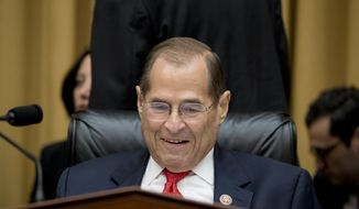 House Judiciary Committee Chairman, Rep. Jerrold Nadler, D-N.Y., arrives to a hearing where former special counsel Robert Mueller, will testify before the House Judiciary Committee hearing on his report on Russian election interference, on Capitol Hill, in Washington, Wednesday, July 24, 2019. (AP Photo/Andrew Harnik)