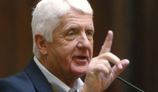 FILE - In this Feb. 12, 2018, file photo, Utah Republican U.S. Rep. Rob Bishop speaks on the Senate floor at the Utah State Capitol in Salt Lake City. Bishop says he may change his mind about retiring and run again for his House seat. The longtime Republican congressman tells the Deseret News on Thursday, July 18, 2019, that he's considering running for another term and plans to announce his decision at the end of July. (AP Photo/Rick Bowmer, File)