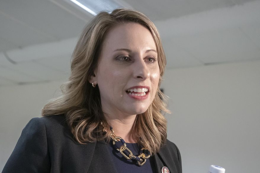 In this April 3, 2019, file photo, Rep. Katie Hill, D-Calif., talks on Capitol Hill in Washington. (AP Photo/J. Scott Applewhite, File)
