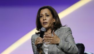 Democratic presidential candidate Sen. Kamala Harris, D-Calif., speaks during a candidates forum at the 110th NAACP National Convention, Wednesday, July 24, 2019, in Detroit. (AP Photo/Carlos Osorio)