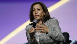 Democratic presidential candidate Sen. Kamala Harris, D-Calif., speaks during a candidates forum at the 110th NAACP National Convention, Wednesday, July 24, 2019, in Detroit. (AP Photo/Carlos Osorio) ** FILE **