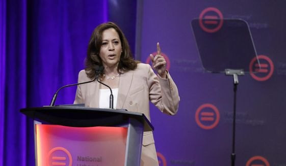 Democratic presidential candidate, Sen. Kamala Harris, D-Calif., speaks during the National Urban League Conference, Friday, July 26, 2019, in Indianapolis. (AP Photo/Darron Cummings)
