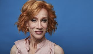 "This July 16, 2019 photo shows Kathy Griffin posing for a portrait in New York to promote her film ""Kathy Griffin: A Hell of a Story,"" in select theaters for one day only on July 31. (Photo by Matt Licari/Invision/AP)"