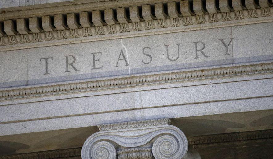 This June 6, 2019, file photo shows the U.S. Treasury Department building at dusk in Washington. (AP Photo/Patrick Semansky, File)