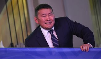 President of Mongolia and President of the Mongolian Judo Federation Khaltmaagiin Battulga is pictured during the opening day of the World Judo Championships in Budapest Papp Laszlo Sports Arena in Budapest, Hungary, Monday, Aug. 28, 2017. The sports event runs until Sept. 3. (Tamas Kovacs/MTI via AP) **FILE**
