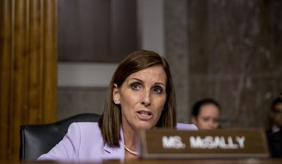 Sen. Martha McSally, R-Ariz., speaks during a Senate Armed Services Committee hearing on Capitol Hill in Washington, Tuesday, July 30, 2019, for the confirmation hearing of Gen. John Hyten to be Vice Chairman of the Joint Chiefs of Staff. (AP Photo/Andrew Harnik)