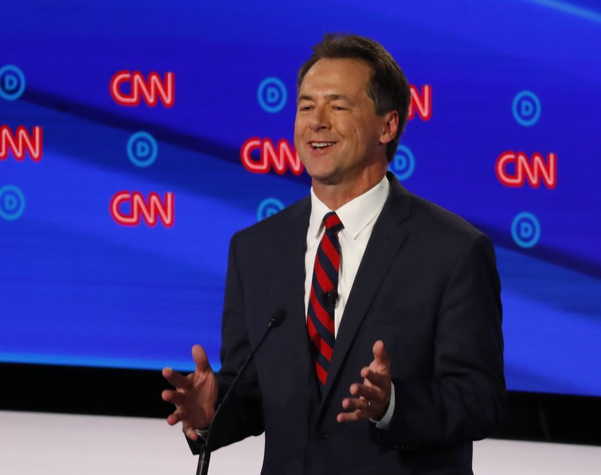Montana Gov. Steve Bullock participates in the first of two Democratic presidential primary debates hosted by CNN Tuesday, July 30, 2019, in the Fox Theatre in Detroit. (AP Photo/Paul Sancya) ** FILE **