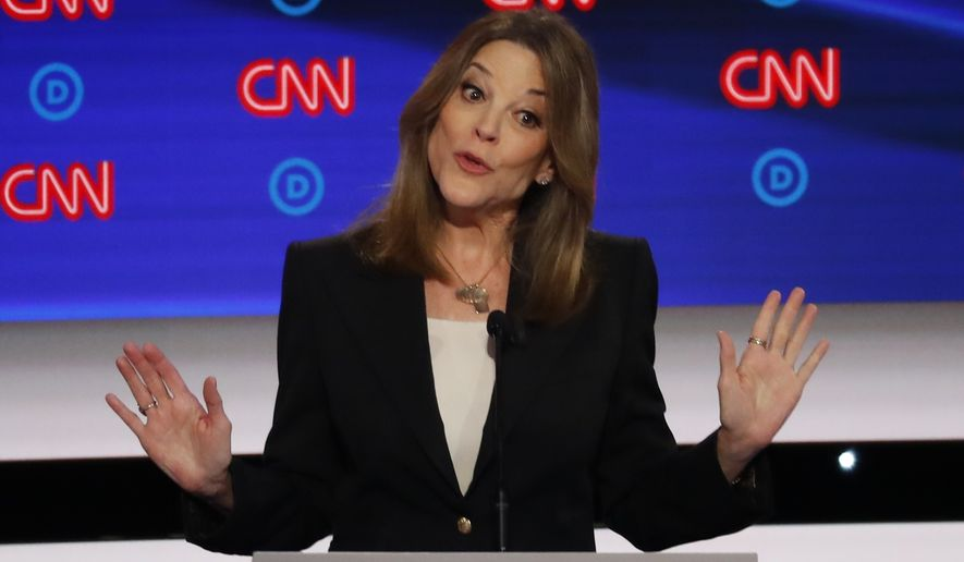 Author Marianne Williamson speaks during the first of two Democratic presidential primary debates hosted by CNN Tuesday, July 30, 2019, in the Fox Theatre in Detroit. (AP Photo/Paul Sancya)