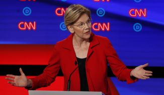 Sen. Elizabeth Warren, D-Mass., participates in the first of two Democratic presidential primary debates hosted by CNN Tuesday, July 30, 2019, in the Fox Theatre in Detroit. (AP Photo/Paul Sancya) **FILE**