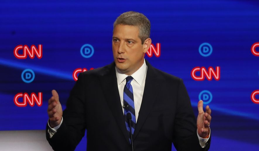 Rep. Tim Ryan, D-Ohio, participates in the first of two Democratic presidential primary debates hosted by CNN Tuesday, July 30, 2019, in the Fox Theatre in Detroit. (AP Photo/Paul Sancya)