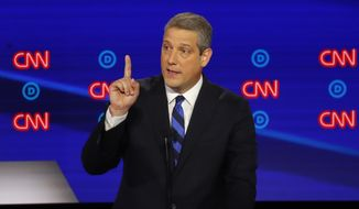 Rep. Tim Ryan, D-Ohio, speaks during the first of two Democratic presidential primary debates hosted by CNN Tuesday, July 30, 2019, in the Fox Theatre in Detroit. (AP Photo/Paul Sancya)