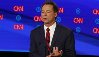 Montana Gov. Steve Bullock participates in the first of two Democratic presidential primary debates hosted by CNN Tuesday, July 30, 2019, at the Fox Theatre in Detroit. (AP Photo/Paul Sancya)