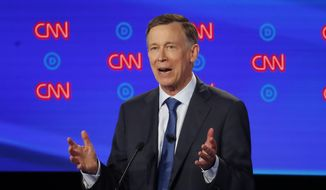 Former Colorado Gov. John Hickenlooper speaks during the first of two Democratic presidential primary debates hosted by CNN Tuesday, July 30, 2019, in the Fox Theatre in Detroit. (AP Photo/Paul Sancya)