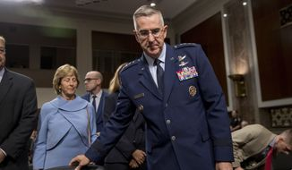 Gen. John Hyten appears before a Senate Armed Services Committee on Capitol Hill in Washington, Tuesday, July 30, 2019, for his confirmation hearing to be Vice Chairman of the Joint Chiefs of Staff. (AP Photo/Andrew Harnik)