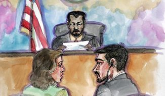 FILE - In this April 25, 2006, file court sketch, terror probe defendant Hamid Hayat, right, and his attorney Wazhma Mojaddidi listen as U.S. District Judge Garlend E. Burrell Jr. reads the jury's guilty verdict at the federal courthouse in Sacramento, Calif. A federal judge has overturned the conviction of Hayat, a California man accused of plotting an attack in the United States after attending a terrorist training camp in Pakistan. Federal prosecutors did not immediately say Tuesday, July 30, 2019, whether they will seek to retry 36-year-old Hayat. (AP Photo/ Vicki Ellen Behringer, File)