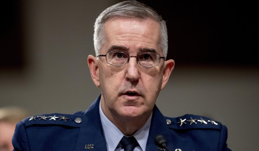 FILE - In this April 11, 2019, file photo, U.S. Strategic Command Commander Gen. John Hyten testifies before a Senate Armed Services Committee hearing on Capitol Hill in Washington. (AP Photo/Andrew Harnik, File)
