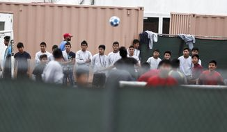 In this Dec. 10, 2018, photo, immigrant boys play soccer at the Homestead Temporary Shelter for Unaccompanied Children, a former Job Corps site that now houses them in Homestead, Fla. The Trump administration is scouting sites in central Florida, Virginia and Los Angeles for future facilities to hold unaccompanied minors who have crossed the U.S.-Mexico border. (AP Photo/Brynn Anderson)