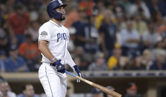San Diego Padres' Eric Hosmer watches his two-run home run during the fourth inning of a baseball game against the Baltimore Orioles, Monday, July 29, 2019, in San Diego. (AP Photo/Orlando Ramirez)