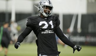 Oakland Raiders cornerback Gareon Conley takes part in a drill during NFL football training camp Monday, July 29, 2019, in Napa, Calif. (AP Photo/Eric Risberg)
