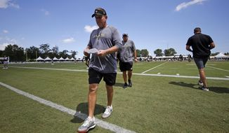 New Orleans Saints head coach Sean Payton walk off the field after training camp at their NFL football training facility in Metairie, La., Monday, July 29, 2019. (AP Photo/Gerald Herbert)