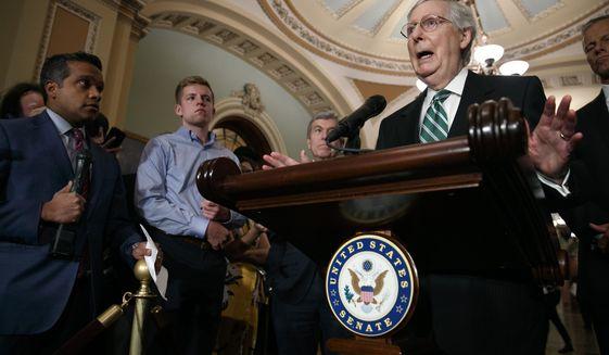 Senate Majority Leader Mitch McConnell of Ky., right, speaks to the media with Senate Republican leaders, Tuesday, July 30, 2019, after their weekly policy luncheon on Capitol Hill in Washington. (AP Photo/Jacquelyn Martin)