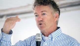 U.S. Sen. Rand Paul, R-Ky., speaks during a ribbon cutting for Amneal Pharmaceuticals in Glasgow, Kentucky, July 22, 2019, file photo. (Bac Totrong/Daily News via AP)  ** FILE **