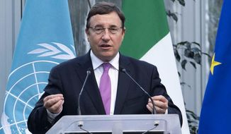 FILE - In this Jan. 28, 2019 file photo, United Nations Development Program Administrator, Achim Steiner, speaks during the inauguration ceremony of the Africa Center for Climate and Sustainable Development, in Rome. Steiner spoke to The Associated Press on Monday, July 29, 2019, and said the devastating five-year civil war in Yemen has knocked the country back 20 years in terms of development and access to education. Yemen was already the Arab world's poorest nation before the war, which has killed tens of thousands of people. (Maurizio Brambatti/ANSA Via AP, File)