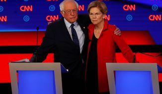 Democratic presidential candidates Sen. Bernard Sanders and Sen. Elizabeth Warren are running on a far-left platform and it's causing a rift with moderates in the party. (Associated Press)