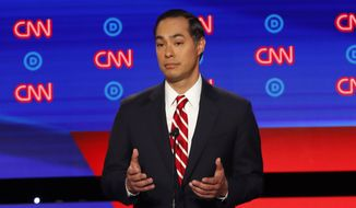 Former Housing the Urban Development Secretary Julian Castro participates in the second of two Democratic presidential primary debates hosted by CNN Wednesday, July 31, 2019, in the Fox Theatre in Detroit. (AP Photo/Paul Sancya)
