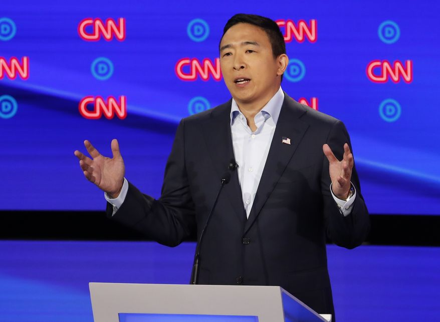 Andrew Yang participates in the second of two Democratic presidential primary debates hosted by CNN Wednesday, July 31, 2019, in the Fox Theatre in Detroit. (AP Photo/Paul Sancya)