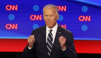 Former Vice President Joe Biden participates in the second of two Democratic presidential primary debates hosted by CNN Wednesday, July 31, 2019, in the Fox Theatre in Detroit. (AP Photo/Paul Sancya)