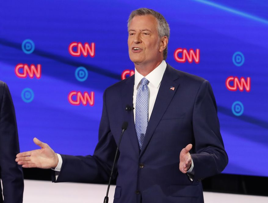 New York City Mayor Bill de Blasio participates in the second of two Democratic presidential primary debates hosted by CNN Wednesday, July 31, 2019, in the Fox Theatre in Detroit. (AP Photo/Paul Sancya)