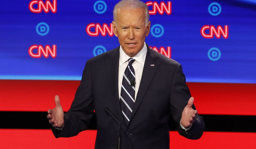 Former Vice President Joe Biden speaks during the second of two Democratic presidential primary debates hosted by CNN Wednesday, July 31, 2019, in the Fox Theatre in Detroit. (AP Photo/Paul Sancya)