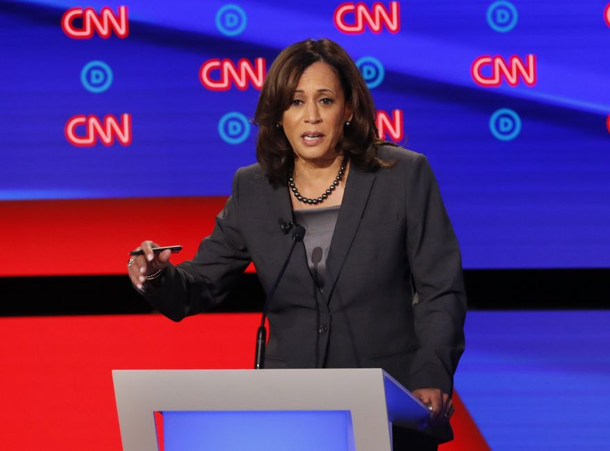 Sen. Kamala Harris, D-Calif., participates in the second of two Democratic presidential primary debates hosted by CNN Wednesday, July 31, 2019, in the Fox Theatre in Detroit. (AP Photo/Paul Sancya)