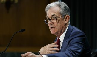 Federal Reserve Chair Jerome Powell presents the monetary policy report to the Senate Banking Committee on Capitol Hill in Washington. (AP Photo/Jacquelyn Martin) **FILE**
