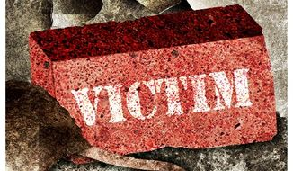 Illustration on the destructive effects of victimhood by Alexander Hunter/The Washington Times