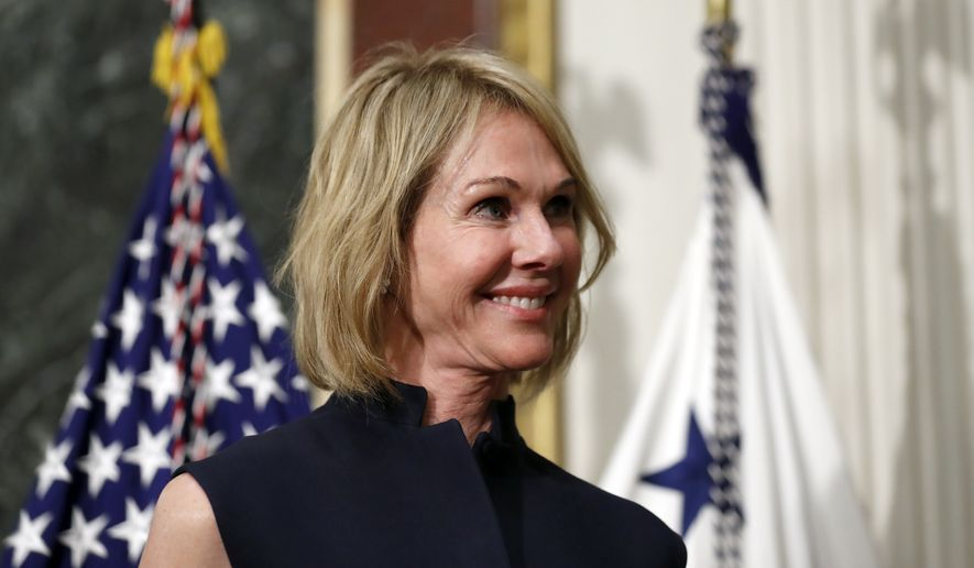 U.S. Ambassador to Canada Kelly Knight Craft stands during her swearing in ceremony in the Indian Treaty Room in the Eisenhower Executive Office Building on the White House grounds in Washington. The Senate has confirmed Craft to become the next U.S. envoy to the United Nations. (AP Photo/Alex Brandon, File)
